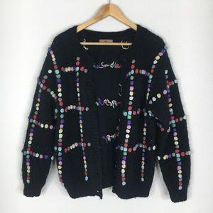 Vintage STOL Black Multi Color Pom Pom Sweater